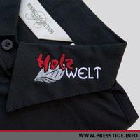 Shirts besticken auf Hemdkragen